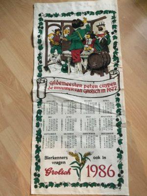 Katoenen Kalender Grolsch 1986